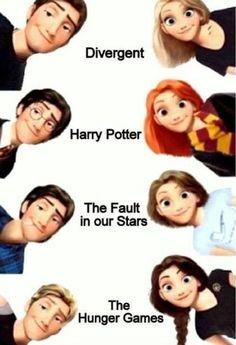 #Divergent #HarryPotter #TheFaultinOurStars #TheHungerGames #Animation