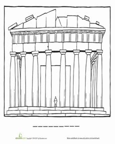Parthenon Coloring Page Worksheet