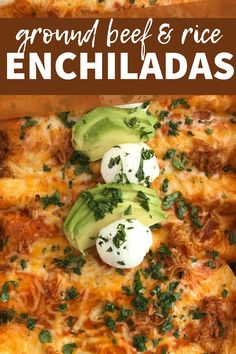 Cheesy beef and rice enchiladas need only 5 ingredients! So easy to make with ground beef, seasonings, enchilada sauce, tortillas, and a spanish rice packet.  #groundbeefrecipes #easydinnerideas #dinnerrecipes #easyrecipes #enchiladas Enchilada Sauce, Enchilada Recipes, Healthy Beef Recipes, Mexican Food Recipes, Cooking Recipes, Ground Beef Rice, Beef And Rice, Bulgogi, Tortillas