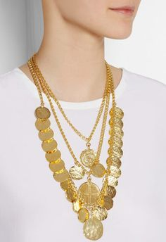 Kenneth Jay Lane Gold Plated Coin Necklace! Perfect for Spring 2014 and the Coinage trend! Just a little over $100.