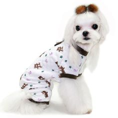 Made by Puppy Zzang. Dog Pajamas, Pyjamas, Teddy Bear Dog, White Dogs, Dog Design, Jogging, Your Pet, Puppies, Pets