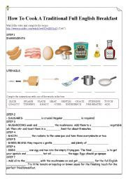 English worksheet: How To Cook A Traditional Full English Breakfast