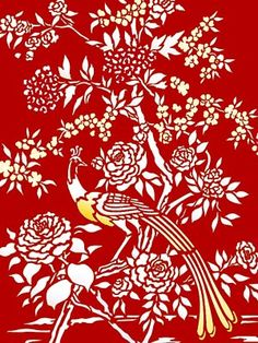 a red stencil/wallpaper for wall above the fireplace.  from the amazing Chinoiserie Chic: Today blog