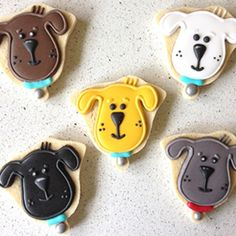"11 Likes, 1 Comments - Liz Weber (@lizscookiejar) on Instagram: ""Loved making these very cute dog faces for a sweet birthday girl who loves dogs.…"""