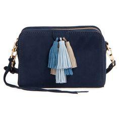 Women's Rebecca Minkoff 'Sofia' Crossbody Bag ($245) ❤ liked on Polyvore featuring bags, handbags, shoulder bags, blue shoulder bag, rebecca minkoff handbags, vintage cross body purse, vintage handbags and blue handbags