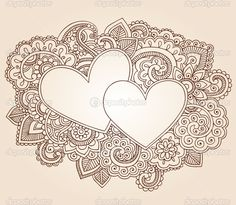 doodle patterns | Valentine's Day Henna Hearts Love Doodles Vector | Stock Vector ...