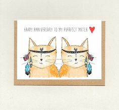 HAPPY ANNiVERSARY to my PURRFECT MATCH . greeting card . spouse anniversary card . wife . husband . unisex same sex . cat cats . australia