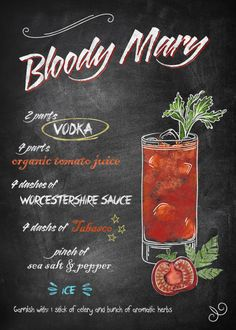 Chalkboard Bar Cocktails Bloody Mary #Displate artwork by artist \