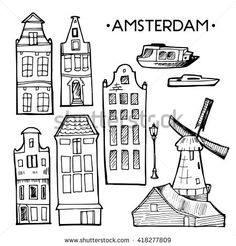 Background with hand drawn doodle Amsterdam houses. Cityscape design elements black and white. Illustration vector. Scandinavian city