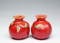 """Fruit Vegetable Pomegranate Salt & Pepper Shakers by Appletree Designs Cosmos. $10.88. Made of Ceramic. Beautiful Set. Measures 2.5"""" Tall x 2"""" Wide. Awesome Pomegranate Salt and Pepper Shakers. Lovely Pomegranate Salt and Pepper Shaker Set Made of Ceramic."""