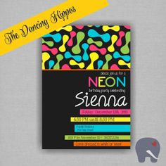 Neon Glow Birthday Invitation, Kids Birthday, Birthday Party  - Digital File, Printed Invitations available. CUSTOMIZE the COLORS & WORDING