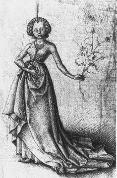 Master E.S. Young Girl. c. 1460/1465. Städelsches Kunstinstitut und Städtische Galerie, Graphische Sammlung. Frankfurt, Germany.