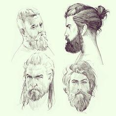 .@Manequim | Sketching while working on some bigger project :) Bearded men again #sketch #... | Webstagram