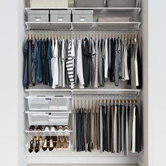 Elfa Classic 5 White Reach-In Closet Closet Drawers, Closet Rod, Closet Wall, Hanging Closet, Entryway Closet, Reach In Closet, Closet Space, Open Closets, Dream Closets