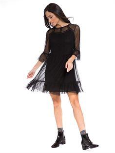Etek Ve Kol Ucu Volanlı Tül Elbise -8SB607Z8-CVL