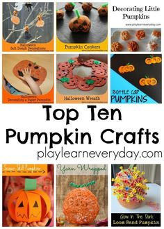 A fun collection of pumpkin themed crafts for young children to make, perfect for Halloween. Fun Halloween Games, Halloween Party Decor, Halloween Kids, Halloween Crafts, Preschool Halloween, Halloween Themes, Toddler Crafts, Diy Crafts For Kids, Fall Crafts