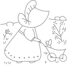drawing for embroidery--sunbonnet pushing baby carriage (Jenine)
