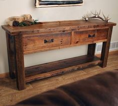 Old Sawmill Timber Frame Sofa Table w/ Drawers