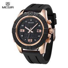 Megir Luxury Watch Men Famous Brand Mens Watches Black Silicone Strap Sports Backlight Digital Quartz Alarm Army Wristwatch