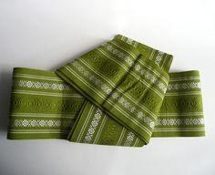 Casual obi sash - Japanese vintage - silk - Hakata-obi - maccha green - WhatsForPudding