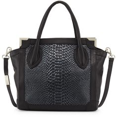 Foley + Corinna Framed Mini Leather Shopper Bag (£83) ❤ liked on Polyvore featuring bags, handbags, tote bags, purses, noir snake, leather tote bags, leather tote, zip top tote bag, genuine leather tote and leather tote handbags