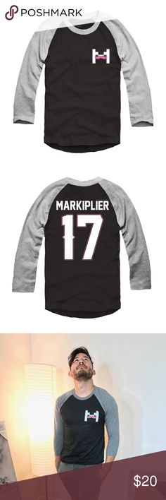 """Markiplier Charity Live Stream Baseball Tee Black and grey 3/4"""" length sleeved baseball tee from Markiplier's April Charity Livestream. Purchased to support charity, but only worn once! Unisex size medium. Represent Tops Tees - Long Sleeve"""