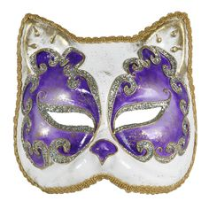 {Cat Mask Purple And White} Balacoloc Venetian Masks - hand-crafted by Venetian mask artisans!