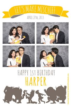 """Happy 1st Birthday, young Harper! We had the chance to bring the Open-Air style photo booth to this """"Where the Wild Things Are"""" themed party, which was held at Cafe Pinot in Los Angeles.    http://www.madmochiphotobooth.com"""