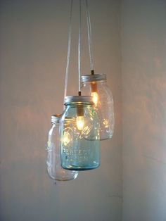 Ocean Spray Mason Jar Chandelier - Blue and Clear Hanging Pendant Lighting Fixture - Rustic Industrial UpCycled BootsNGus Lamp Design. $90.00, via Etsy.