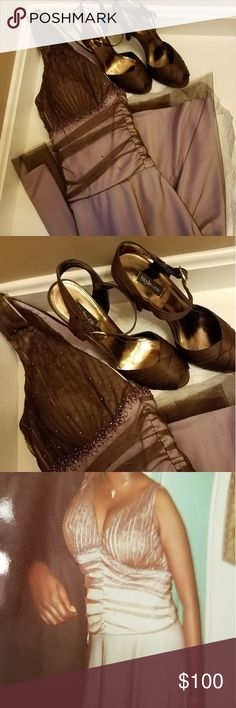 🅿R🅾Ⓜ👗 DRESS & SHOE BUNDLE GET THE LOOK: LILAC DRESS WITH CHOCOLATE BROWN MESH OVERLAY BY JS BOUTIQUE  CHOCOLATE BROWN SATEEN PEEP TOE HEELS BY STYLE & CO  WORN ONCE! BONUS ADDED ACCESSORIES WITH PURCHASE TO COMPLETE YOUR LOOK FOR PROM! JS Boutique Dresses Prom