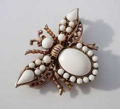 Vintage Gold Tone Milk Glass Insect Bee Brooch Pin | eBay