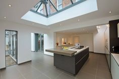 Flat Roof Uk Design Ideas, Pictures, Remodel and Decor Kitchen Dining Living, New Kitchen, Flat Roof, Skylight, Victorian Homes, Living Spaces, Cottage, Contemporary, Bedroom