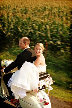 A dolled-up vespa might be my new favorite mode of getaway transportation. This couple looks so adorable as they make their way from their sweet church ceremony to stunning farm reception. Vespa Wedding, Farm Wedding, Church Ceremony, Wedding Ceremony, Wedding Dress Cost, Wedding Dresses, On Your Wedding Day, Wedding Season, Wedding Looks