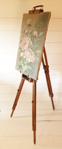 Antique Artist Portable Wooden Floor Easel by LaLoupiote on Etsy