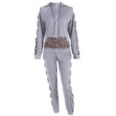 Leopard Printed Pants and Zip Up Hooded Top