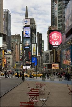 """""""Times Square"""" —Looking north up 7th Avenue from just below 46th Street (after it was ruined by Mayor Bloomberg, who filled up the streets with tourist seating areas)"""