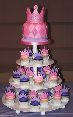 We created this cupcake tower for Ava's birthday party. We've been doing Ava's birthday cakes since her second birthday - this year sh. Cupcake In A Cup, Cupcake Birthday Cake, Birthday Fun, Cupcake Cakes, Cup Cakes, Birthday Ideas, Rose Cupcake, Daughter Birthday, Cupcake Toppers