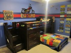 Planes, Trains, and Automobiles, This is my sons big boy room. He loves trucks, planes, and motorcycles so I decided to just go with everything. He is 5 years old, but I tried to make it work for him to grow up and still like, and not to be too young., I got the loft bed at Rooms-to-go and most of the decor at Hobby Lobby 50% off and ebay. Got some really good deals! , Boys Rooms Design