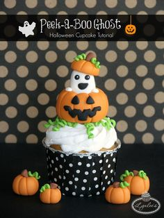It's almost Halloweeen — let's decorate some cupcakes! Here's how to make a delightful ghost peeking out of a pumpkin for your upcoming boo bashes!
