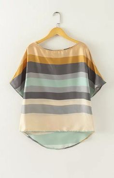 Specifications: Decoration:Button Clothing Length:Regular Pattern Type:Striped Sleeve Style:Batwing Sleeve Style:Fashion Fabric Type:Chiffon Material:Polyester Collar:O-Neck Color Style:Natural Color