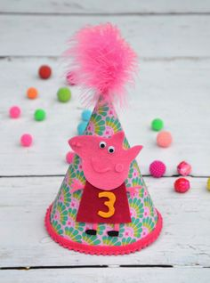 Peppa Pig party hat in handmade Peppa Pig birthday by AggCrafts, £11.80