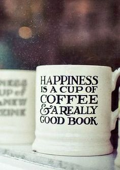 Happiness is a cup of TOMS Roasting Co. coffee and a really good book.