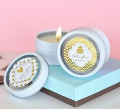 Metallic Foil Personalized Round Candle Tins - Wedding