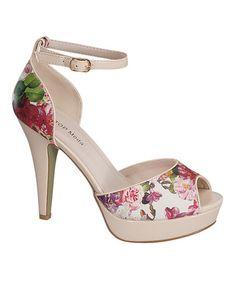 Look what I found on #zulily! Beige Floral Peep-Toe Pumps #zulilyfinds
