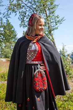 Scandinavian traditional dress and cloak Colorful Clothes, Colourful Outfits, Folk Costume, Costumes, Going Out Of Business, Bridal Crown, Character Creation, Film Industry, Amazing People