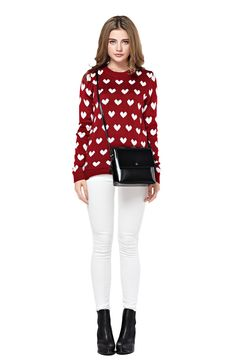 Women's Full Heart Pattern Red Sweater