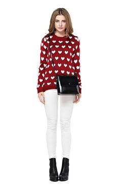 Women's Full Heart Pattern Red Sweater