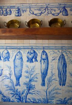 Lisbon, Portugal Handmade tiles can be colour coordinated and customized re. shape, texture, pattern, etc. by ceramic design studios. Fresco, Portuguese Tiles, Portuguese Culture, Handmade Tiles, Colorful Fish, Tropical Fish, Ceramic Design, White Decor, Mosaic Tiles