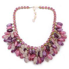 Vintage 1950s Pink Glass Bead Paste Tassle Statement Necklace | Clarice Jewellery | Vintage Costume Jewellery