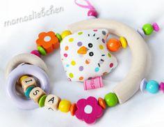 275883 Greifling ♥  EULE ♥ mit Name von Schnullerkette mit Namen auf DaWanda.com